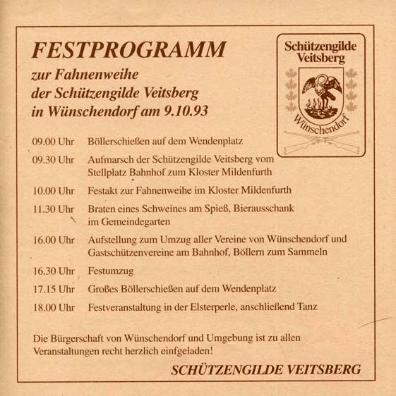 Festprogramm im Wünschendorfer Anzeiger zur Fahnenweihe der SG Veitsberg e. V.